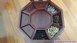 Mesa tablero de ajedrez de madera maciza