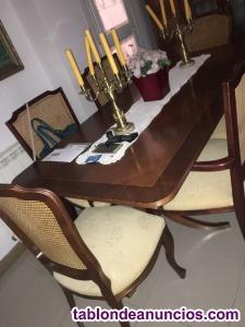 Mesa de salón con 6 sillas y 2 sillones