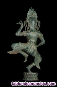 Escultura antigua apsara de bronce de 55 cm