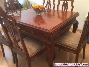 Mesa de comedor y 6 sillas de madera maciza con marqueteria