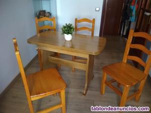 Mesa madera mas cuatro sillas y taquillón madera pino