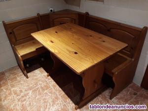 Rinconera y mesa de pino macizo