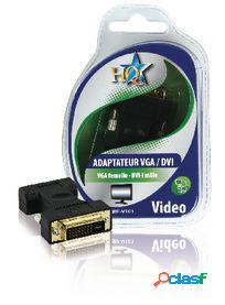 HQ Adaptador Dvi Dvi-I 24 + 5 pines Macho - Vga Hembra Negro