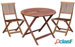 Ldk Kate mesa redonda y 2 sillas madera shorea