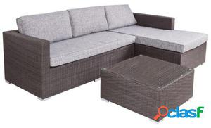 Ldk Sofá chaise longue rattán pe 160x240x65 cm