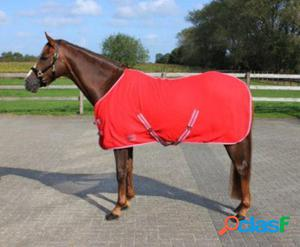 QHP Manta Lana Color con Cinchas Cruzadas Rojo Oscuro 135 cm
