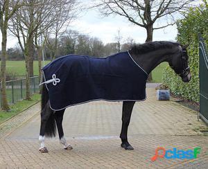 QHP Manta de lana con adorno azul / plata 165 cm