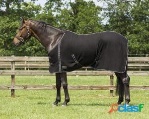 QHP Manta lana básica con cinchas cruzadas negro 195 cm