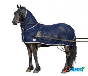 QHP Manta moscas/coche con cubre cuello azul 155 cm