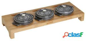 Staub Soporte de madera para 3 Mini Cocottes