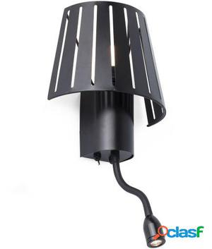 Wellindal Aplique Mix Negro 1 E27 60W Con Lector Led 3W