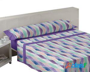 Wellindal Juego de sábanas estampadas rubí lila 3 piezas
