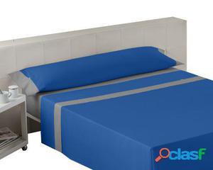 Wellindal Juego de sábanas liso con aplique azulón plomo 3