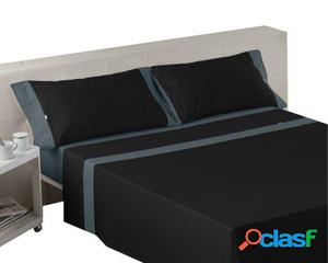 Wellindal Juego de sábanas liso con aplique negro gris 4