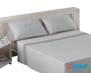 Wellindal Juego de sábanas liso con aplique perla plomo 4