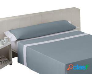 Wellindal Juego sábanas liso con aplique acero blanco 3