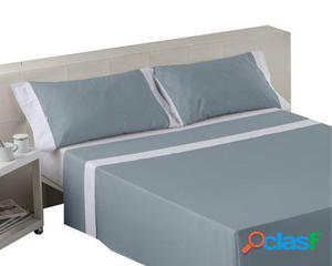 Wellindal Juego sábanas liso con aplique acero blanco 4