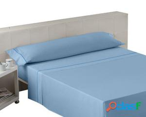 Wellindal Juego sábanas liso con biés azul celeste 3