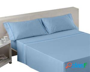 Wellindal Juego sábanas liso con biés azul celeste 4