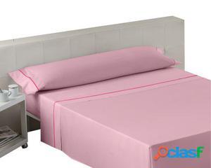Wellindal Juego sábanas liso con biés rosa 3 piezas