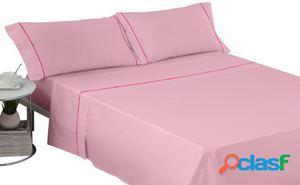 Wellindal Juego sábanas liso con biés rosa 4 piezas 150 cm