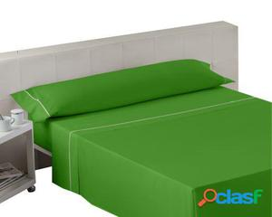 Wellindal Juego sábanas liso con biés verde 3 piezas 105