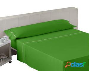 Wellindal Juego sábanas liso con biés verde 3 piezas 150