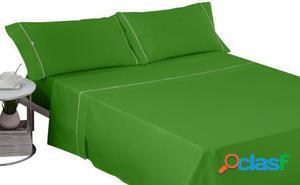 Wellindal Juego sábanas liso con biés verde 4 piezas 160