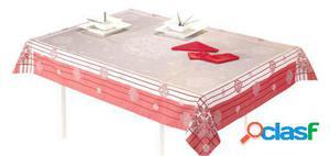 Wellindal Mantel jacquard elia y servilleta rojo
