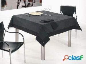 Wellindal Mantel jacquard gariman aplique y servilleta negro