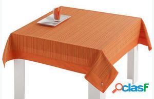 Wellindal Mantel jacquard mara aplique y servilleta naranja