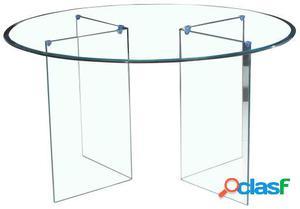 Wellindal Mesa de comedor circum-cristal transparente