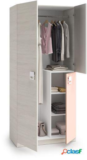 Wellindal Nube armario juvenil 3 puertas blanco alpes y rosa