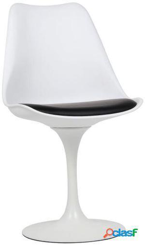 Wellindal Silla Tulip White Tapizado Con Cojín Negro