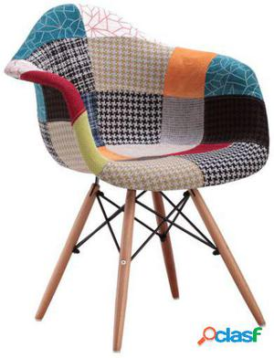 Wellindal Silla Wooden Arms Patchwork Inspiración Daw