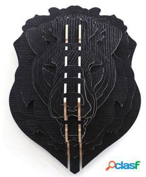 Wellindal Trofeo De Pared Lion -Puzzle 3D Negro