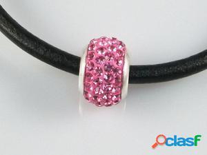 Abalorio de Plata Cristal rosa 4