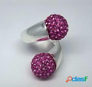 Anillo en Plata de Ley con bolas de cristal Rosas