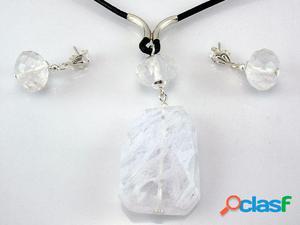Conjunto Pendientes y Gargantilla cuarzo blanco y Plata de