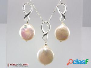 Conjunto ochos de Plata de ley con Perlas cultivadas