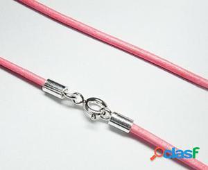 Cordon de Piel rosa claro y Plata de ley 40 Cm.