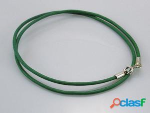 Cordon de Piel verde claro y Plata de ley 40 Cm.
