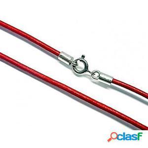 Cordon de cuero rojo y Plata de ley 40 Cm.