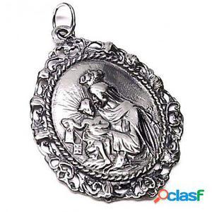 Gargantilla Virgen del Carmen calada con Cuero