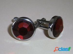 Gemelos de Acero Redondo Piedra Roja