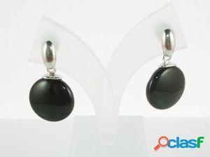 Pendientes Onix negro redondos en Plata de ley