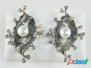 Pendientes de Plata envejecida con Perlas y Circonitas