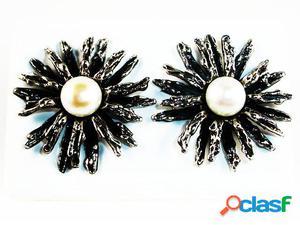 Pendientes de Plata vieja margarita con Perlas