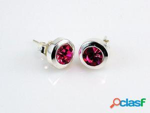 Pendientes marco de Plata y cristal rosa