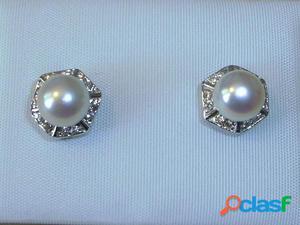 Pendientes perla cultivada y Plata de Ley rodiada